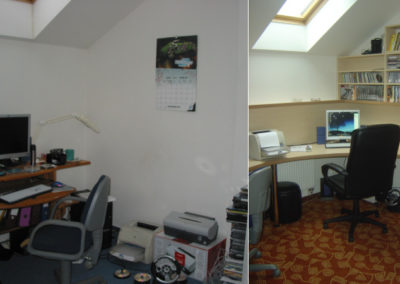 domácí pracovna - vyřešení omezeného prostoru nábytkem na míru