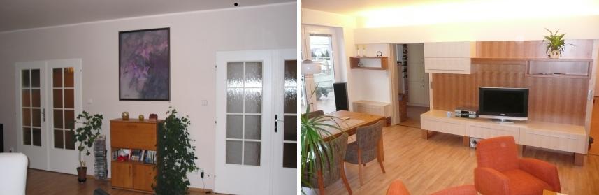 obývací pokoj - posuvné dveře skryté za tv stěnou sjednoceno osvětlovací rampou