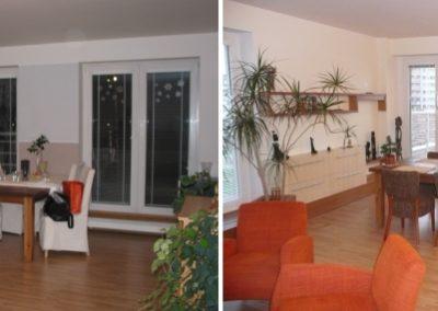 obývací pokoj - vyřešení ukládání a ukrytí topení do schodu pod okna