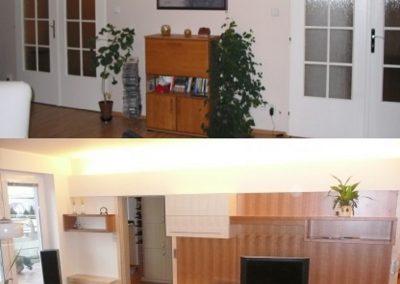 obývací pokoj - posuvné dveře skryté za tv stěnou sjednoceno osvětlovací rompou