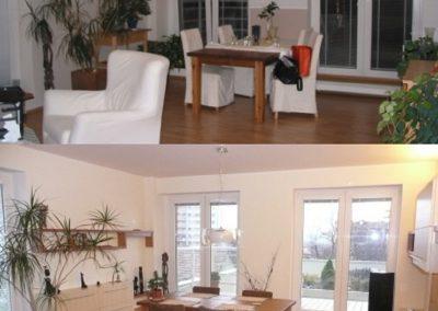 obývací pokoj - vyřešení úložných prostor a ukrytí topení do schodu u okna
